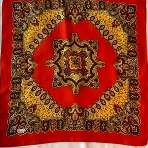 Vintage Liberty of London red Paisley Silk Scarf